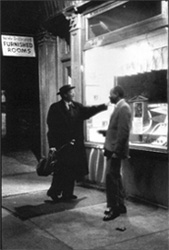 Pres outside the 5-Spot Cafe, 1958