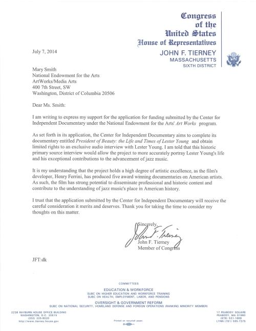 Tierney NEA letter